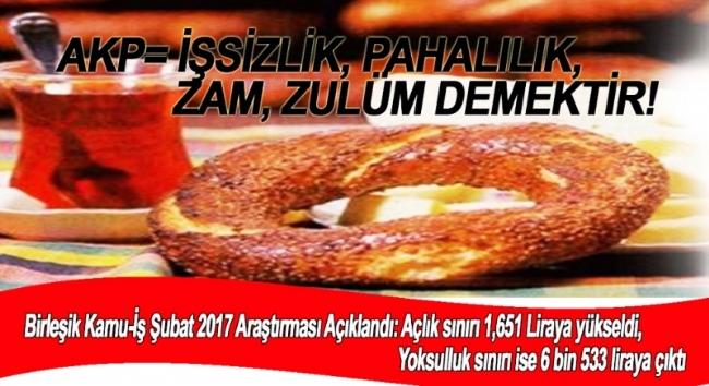 AKP=İŞSİZLİK, PAHALILIK, ZAM, ZULÜM DEMEKTİR!